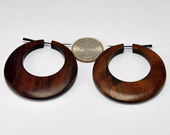 Crimpson Hoops – Stirrup Post Earrings - Sono Wood – Hand Carved Earrings