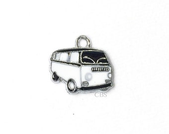 1-5 Black & White Hippy Bus or Van. Enameled colored front with smooth back. Nice quality. Peace love happiness groovy baby!