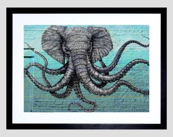 Elephant Octopus Hybrid / Street / Graffiti / Wall Art / Print FEHP1846