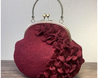 Burgundy Floral Felted Mini Purse with Delicate Beading