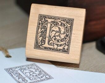Letter L Rubber Stamp, Monogram L stamp, Wood Mounted Rubber Stamp, Alphabet letter L stamp