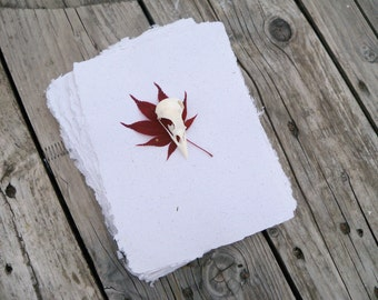 10 sheets of handmade recycled paper - white - homemade paper - gift wrap - paper for bookbinding - craft supplies