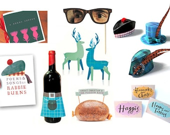 14 Burns night supper printables! Easy to make printable party kit. Includes 14 DIY templates to print & make instantly - by Happythought.