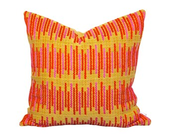 Mid Century Pink Orange Pillow Cover - Vintage Woven Fabric - Stripe Pillows - Eclectic Home Decor