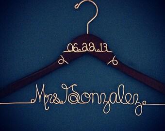 Personalized Custom Wire Wedding Hanger Bridal Hanger, Name Hanger