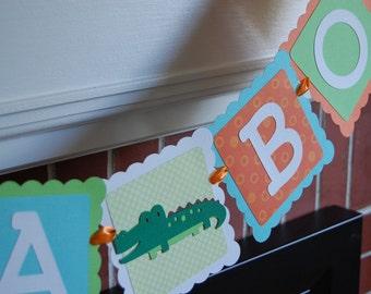 Alligator It's A Boy Banner, Baby Shower Banner, Alligator Theme, Alligator Baby Shower