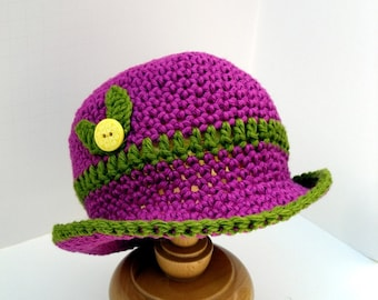 Baby Cloche Hat Pima Silk Magenta and Green with Leaves Handmade Photo Shoot Prop