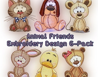 Animal Friends Embroidery Design 6-pack