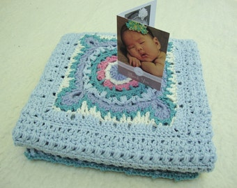 Crochet Baby Blanket, Blanket Merino Wool, Baby Blanket Crochet, Blue Baby Blanket, New Baby Gift, Victorian Lace Accent, Crib Size Blanket