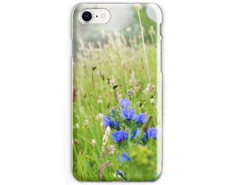 Wild Flowers iPhone Case, Photo Cell Case, Blue Floral Photography, iPhone X, iPhone 8 iPhone 6