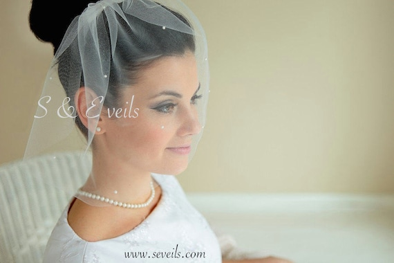 Bird Cage Veil with Pearls - Simple Ivory Tulle Birdcage Veil with Pearls and Comb