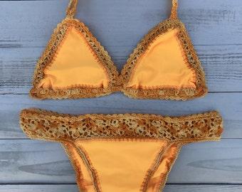 Fabric Handmade Crochet Swimsuit   Crochet Bikini   Handmade Bikini   Cheeky Bikini   Boho Bikini   Crochet Top   Swimwear   Triangle