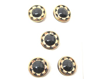 Vintage Buttons Glass Black Gold Flower Buttons by Schwanda