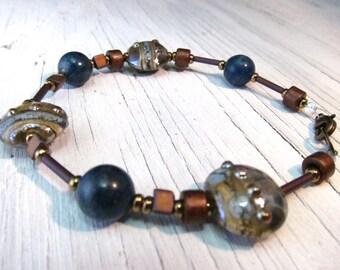Blue Stone Glass Bracelet, Apatite Murano Glass Lampwork Bracelet
