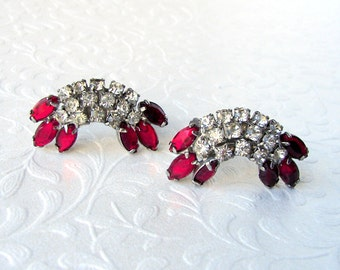 Red Rhinestone Climber Earrings Vintage Costume Jewelry Silver Tone Clip Back Earring Pageant Ballroom Prom Wedding Formal Cocktail Evening
