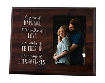 10 Year Anniversary Gift Picture Frame for Him or Her