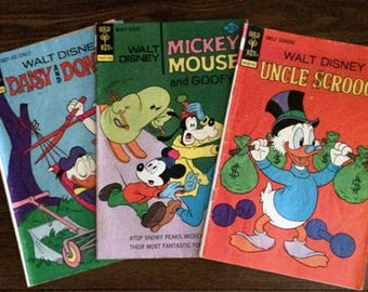 Comic Books, Walt Disney Comic Books, Vintage Comic Books, Used Comic Books, Lot of Three Comic Books, Vintage 1976 and 1977