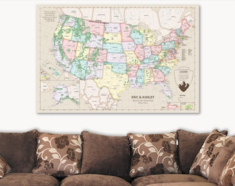 United States of America Map of USA Travel Map Push Pin United States Travel Map Cork Travel Gift for Her Travel Gift for Women Canvas Map