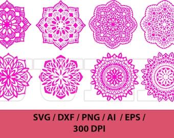 Mandala  svg, Flower svg, Mandala cuttable, Mandala Decal, Flower Mandala svg, dxf, ai, eps, png, Mandala vector, Mandala Vector