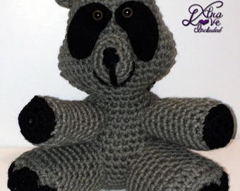 Gray & Black Crochet Raccoon, Stuffed Raccoon, Crochet Animal, Plush Raccoon, Stuffed Raccoon, Toy Raccoon, Crochet Raccoon