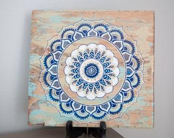 Mandala Art- Mandala on Distressed Wood- Mandala Wall Hanging- Mandala Decor- Turquoise Mandala