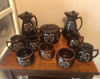 Vintage Hand Painted Japanese Tea set from the 1940-50  10 piece set Brown Moraige clay