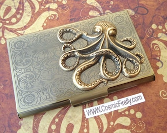 Brass Octopus Card Case Steampunk Business Card Case Vintage Inspired Nautical Card Holder Gothic Victorian Card Case New Antiqued Brass