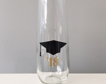 Graduation Gift, College Graduation Gift, Champagne Flute, Class of 2018, Stemless Champagne Flute, College Graduate Gift