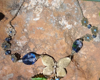 Glass Roses and Butterfly Necklace--OOAK