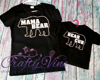 Mama bear and bear cub mommy and me matching shirts