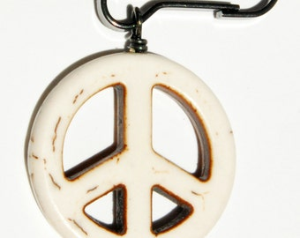 Peace Sign Dog Collar Bling, Peace Sign Zipper Pull, Groovy Backpack Charm, Hippie Purse Charm, Retro Pet Jewelry