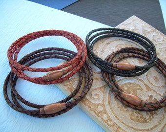 Mens Bracelets, Mens Bracelets Leather, Leather Bracelets, Thin Leather Bracelet, Copper toned, Brass, Magnetic Clasp, Mens Jewelry, Leather