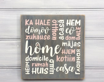 HOME in different languages - Ready to ship - Hand painted - Housewarming, Engagement, Wedding gift - Country rustic decor - or set of 3