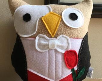 The Phantom of the Owl-pra Owl Plushie- Inspired by The Opera- Small Owl Plushie
