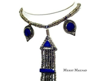 Kuchi inspired ethnic jewelry with lapis lazuli. OOAK Tribal Fusion Belly Dance Necklace.
