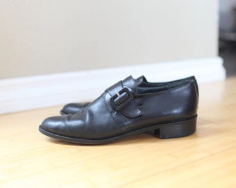 vintage black leather buckle oxfords  womens 9