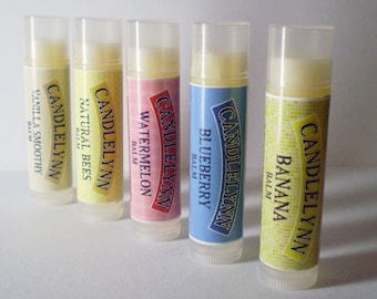 4 Pack Lip Balms by Candle Lynn - Made with Organic Shea and Cocoa Butters
