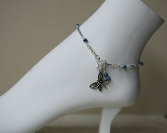 Denim Blue or Purple Silver Dangling Butterfly Anklet, Butterfly Ankle Bracelet, Blue Anklet, Purple Anklet