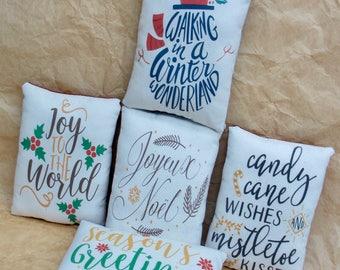 Christmas Pillow | Christmas decoration | Country Christmas decor | Christmas Word Art | Farmhouse Christmas PIllow | Christmas script