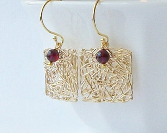 Garnet and Gold Mesh Earrings, Birthstone Jewelry, Mother's Day Jewelry Gift