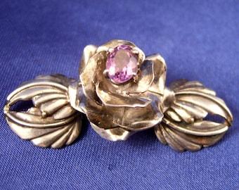 SALE ~ Carol Felley ~ Gorgeous Flower Brooch ~ Sterling & Amethyst