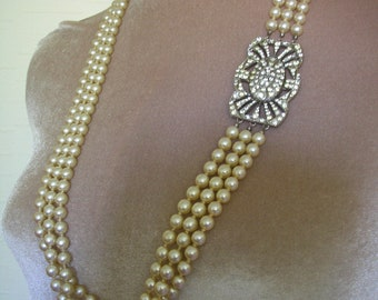Long Pearl Necklace, Art Deco, Pearl Backdrop Necklace, Great Gatsby, Cream Pearls, Three Strand, 1930s,  Wedding Jewelry, Downton Abbey