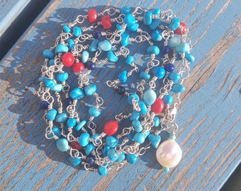 Turquoise and Sterling Silver Wrap Necklace/ Bracelet with Lapis Lazuli and red Coral