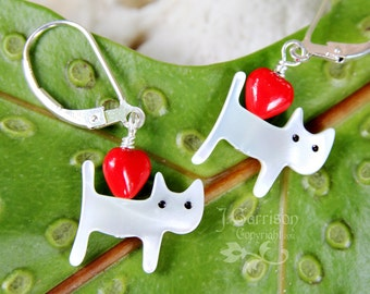White cat & red heart earrings - sterling silver, mother of pearl, glass- tiny kitties - free shipping USA