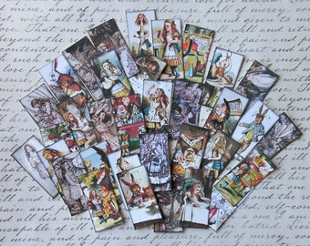 Alice in Wonderland Domino STICKERS- Your CHOICE of 3 sets- Unique designs for domino jewelry art tags cards craft Alice in Wonderland decor