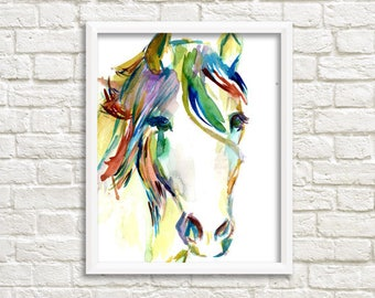"""Horse Watercolor Poster, 18"""" x 24"""" poster print, """"Horsin' Around"""" print, Large Watercolor, Large Poster, Horse Poster, Horse Painting"""