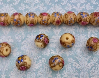 "Set of 4 Vintage 1930s Venetain Wedding Cake Beads Soft Butter Yellow 1/2"" (12mm)"