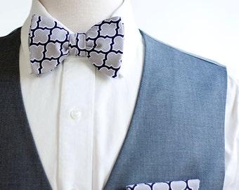 Bow Ties, Bow Tie, Bowties, Mens Bow Ties, Freestyle Bow Ties, Self-Tie Bow Ties, Groomsmen Bow Ties, Grey Bow Ties - Grey Lattice