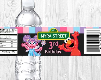 Abby Cadabby and Elmo Water Bottle Label, Abby Cadabby and Elmo Party Decoration, Printable - PDF