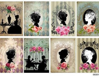 VinTaGe ViCToRiaN LaDieS SiLHoueTTeS ShaBbY DeCALs